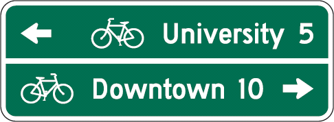 Bicycle wayfinding signs will display the distances to common destinations and connecting streets as part of the bike boulevard network. Drivers should proceed slowly when driving along the boulevard, or even avoid it in favor of primary and other secondary roads.
