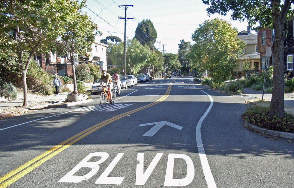 A bike boulevard in Berkeley, CA.