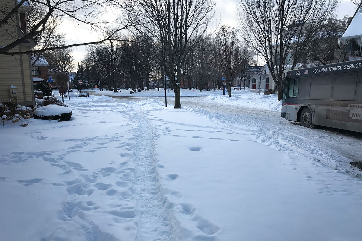 Winter sidewalk. Rochester NY.