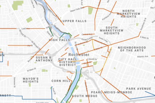 Greater Rochester Area Bicycling Map 2021